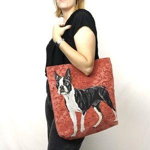 Linda Picken Boston Terrier Tapestry Red Tote Bag